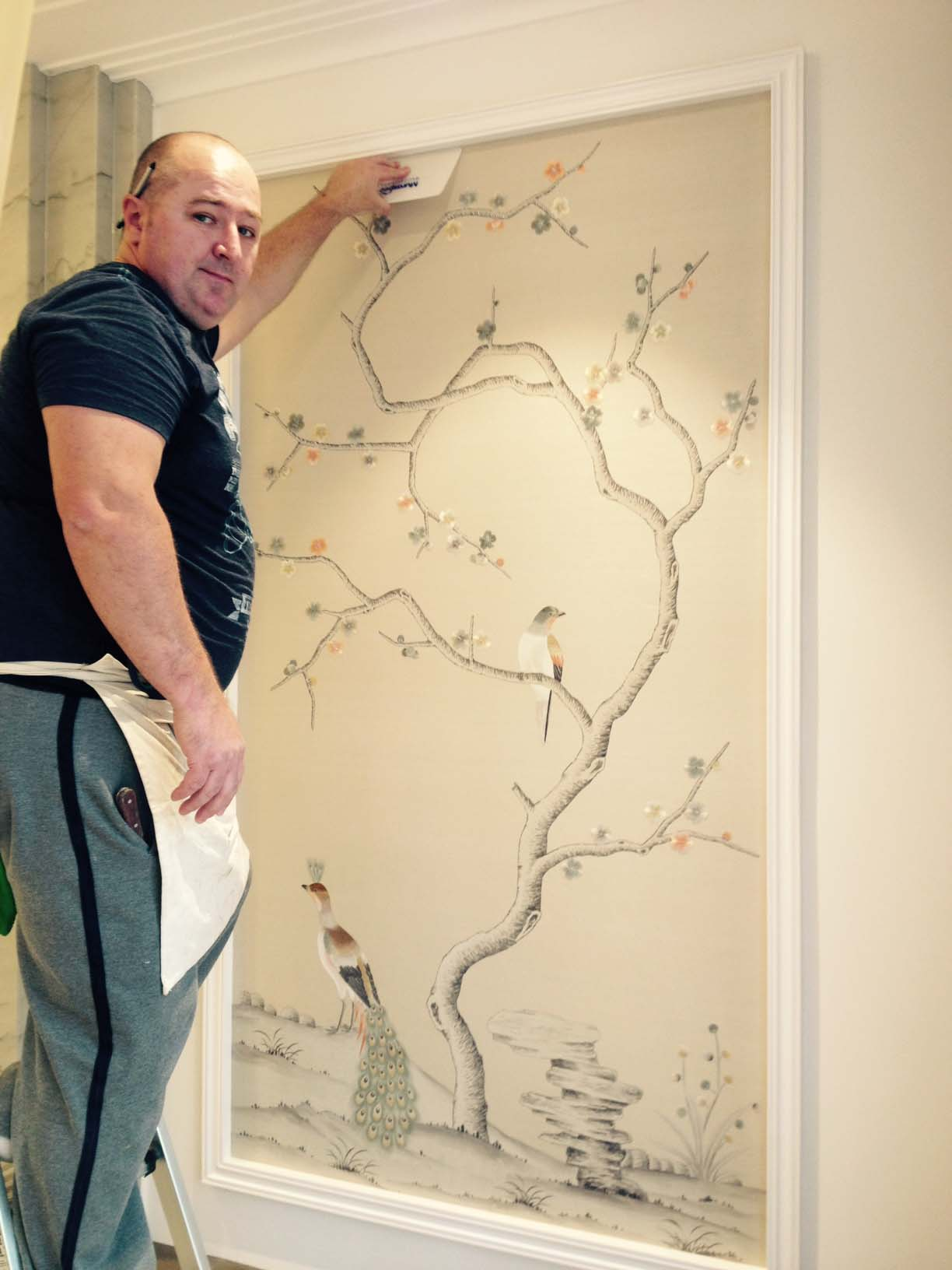 Alan Azuga Installing Fromental Hand Painted Wallpaper Highgate London Installed Panels